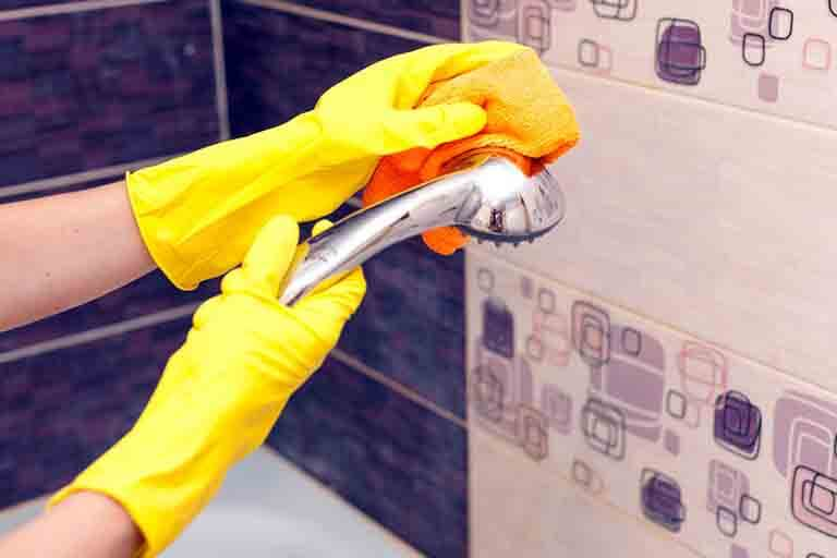 浴室のシャワーヘッドの掃除のしゃしん